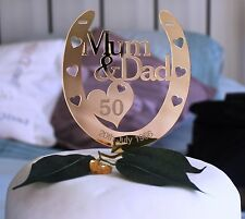 Personalised Mum & Dad 50th GOLD Wedding Anniversary Horseshoe Gift Caketopper