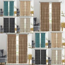 Heavy Jacquard Curtains Pair of Pencil Pleat Tape Top Grommet Curtain Ready Made