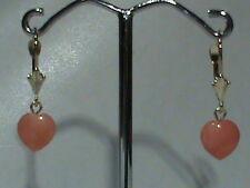 14kt Leverback Earrings Pink Coral Heart Drops Super Cute !
