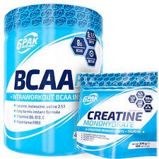 6PAK BCAA PAK 400g Powder + 6PAK Creatine Monohydrate 500g Powder GYM COMBO