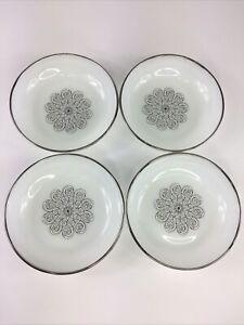 "4 Anchor Hocking Suburbia Vienna Lace Bowls 6 1/2 x 1 1/2"" Silver Mid Century"