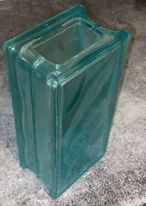 Blue/turquoise Square Glass Decorative Vase