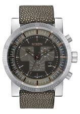 Nixon Magnacon Leather II Watch (Gray Stingray)