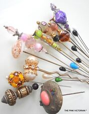 LOT OF 20 FASHION HAT PINS, ANTIQUE TO MODERN CRYSTAL BEAD, VARIETY,COLLECTIBLES