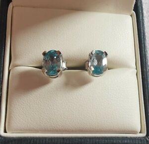 Sterling Silver Blue Zircon Earrings