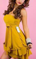 SeXy Miss Bandeau Mini Kleid trägerlos Volant Chiffon 34/36/38 Neu Senf TOP