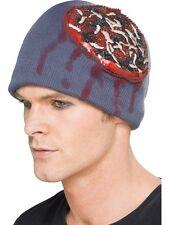 Adult Latex Exposed Brain Beanie Hat Fancy Dress Halloween Woolly Brand New