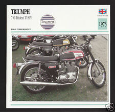 1973 Triumph 750cc Trident T150V (740cc) Motorcycle Photo Spec Sheet Info Card