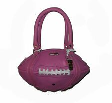 NEW Red24 Pink Cowhide Leather FOOTBALL PURSE Hand Bag+Whistle NFL breast cancer