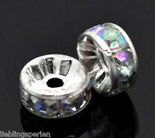300 Versilbert AB Farben Acryl Strass Rondell Spacer Perlen Beads 8mm