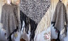 VTG WOOL WOVEN HOUNDSTOOTH IVORY CHARCOAL GRAY-BLACK PONCHO CAPE FRINGED EUC