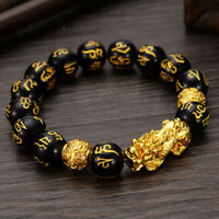 2Pcs Feng Shui Black Obsidian Alloy Bracelet Attract Wealth Good Luck Gift AU