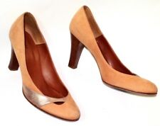 MARC JACOBS 8M Vero Cuoio Nude Suede Gold Leather Detail Heeled Pump Italy