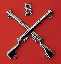 """SNIPER BADGE CROSSED LEE ENFIELD .303 RIFLES WITH LETTER """"S"""" SILVER PLATED"""