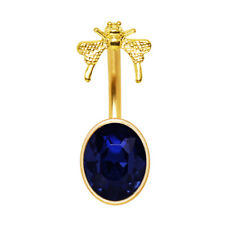 Gold Plated Sapphire Blue Butterfly Navel Ring Curved Belly Bar Body Piercing