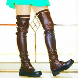 Thigh High Boots Women Flat Heel Over the Knee Boots Stretchy Round Toe Punk