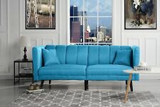 Mid Century Modern Plush Tufted Linen Fabric Living Room Sleeper Futon, Sky Blue