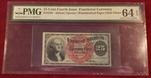 Rare FR 1301 US 25 Cent Note Fourth Issue FRACTIONAL CURRENCY PMG 64 EPQ Choice+