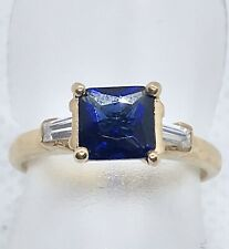 9ct Yellow gold blue and white Cubic zirconia ring