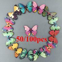 2 Löcher 50Pcs Mixed Groß Schmetterling Phantom Hölzerne Nähende Knöpfe Scrapboo