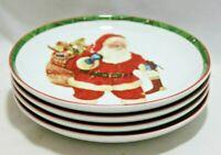 222 Fifth Hello Santa Holiday Porcelain Christmas Salad Plates Set of 4 New