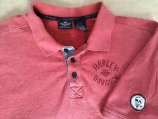 Mens Harley-Davidson Golf Polo Shirt XL Dark Salmon Skulls Short Sleeves 2015
