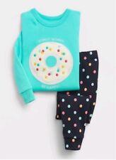 BNWT Gift pack GAP kids PJs DONUT WORRY PYJAMAS FLEECE eplique girls 1 - 5 years