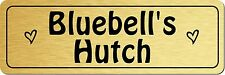 Personalised Metal Rabbit Hutch Door Sign Plaque Custom Name Plate Gold Silver
