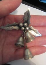 VINTAGE 1940'S OR 50'S TAXCO MEXICO DAMASO GALLEGOS 925 HOLLY AND BELLS BROOCH