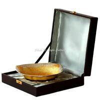 Decorative Triangle Brass Serving Bowl Centerpiece Gold Plated Floral Motifs