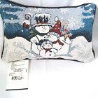 Goodwin Weavers Snowmen Word Pillow Blue White Tapestry Throw Winter New