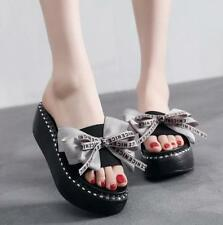 Women Bowknot Slippers Vogue Platform Summer Sandals Leisure Muffin Shoes Beach