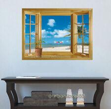3D art autocollants mural papier peint décoration fenêtre exotique plage vue mer wall stickers