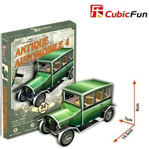 CUBIC FUN 34pcs Antique Automobile Car 4 DIY 3D Puzzle Model Building Kit Toy