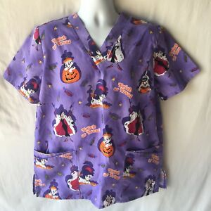 Disney 101 Dalmatians SZ Med Halloween Scrub Top Medical Nursing Uniform Cruella
