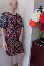 ASOS Abstract Bodycon Sleeves Dress Animal Print Scuba  18  Black/Multi