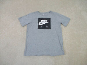 Nike Shirt Youth Extra Large Gray Black Air Swoosh Spell Out Kids Boys 90s A22*