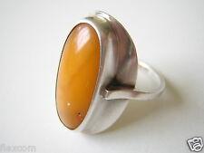 Antiker Fischland 835 Silber Ring Egg Yolk Natur Bernstein 3,2 g Schmuck #219