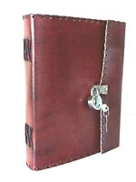 HANDMADE SKETCH NOTEBOOK 9 X 7  LOCK DIARY LEATHER JOURNAL BOUND BOOK CHRISTMAS