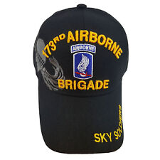 US Military 173rd Airborne Brigade Sky Soldiers on Brim Black Hat Cap