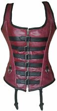 Genuine crunch Leather Steam Punk Over-bust Steel boned Corset with Rear Lacing