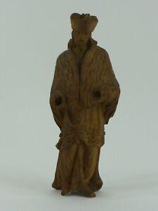 Antike kleine Statue Skulptur Heiligenfigur Holz wohl Heiliger Nepomuk 18 cm