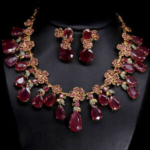 DELUXE NATURAL SET RED RUBY & TSAVORITE GARNET NECKLACE WITH EARRINGS 925 SILVER