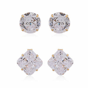 ELANZA Set of 2 Simulated Diamond Earrings in 14K Gold Plated Sterling Silver