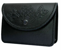 New BLACK KILT BELT POUCH WITH CELTIC EMBOSSED 100% REAL LEATHER SPORRAN /POUCH