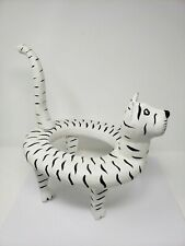 Indonesian / Balinese Handcrafted Wooden Striped Cat Vase/Pot Holder Statue