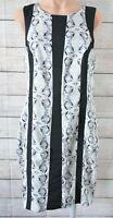 Portmans Pencil Dress Size 14 12 Black Grey White Floral Sleeveless Exposed Zip