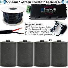Garden party/bbq outdoor speaker kit – sans fil mini stéréo amp & 4 noir haut-parleurs