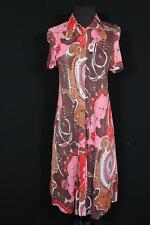 Raro Vintage Francés 597ms-600ms Pink & Marrón Mod Estampado Poliéster Vestido