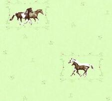 Kinder Mädchen Vliestapete Pferde Ponys grün braun 35837-1 Kindertapete
